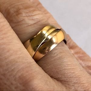 14K Yellow Rose White Gold Trinity Rolling Ring